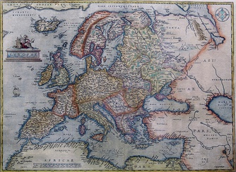 Europe depicted by Antwerp cartographer Abraham Ortelius in 1595