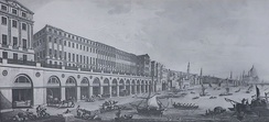 The Adam Brothers' Adelphi (1768–72) was London's first neoclassical building. Eleven large houses fronted a vaulted terrace, with wharves beneath.