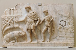 Roman bas-relief, 2nd century: Aeneas lands in Latium, leading Ascanius; the sow identifies the place to found his city (book 8).