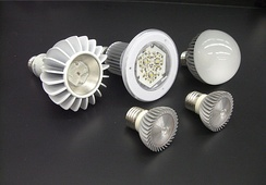 An assortment of energy-efficient semiconductor (LED) lamps for commercial and residential lighting use. LED lamps use at least 75% less energy, and last 25 times longer, than traditional incandescent light bulbs.[12]