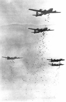 Strategic aerial bombing caused massive damage to cities.