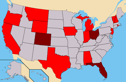 Dark Red - States where Alexander had ballot access. (56 Electoral)Red - States where Alexander had Write-In access. (109 Confirmed)Total - 165 Electoral