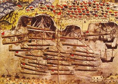 Barbarossa's Ottoman fleet, of the Regency of Algiers, wintering in the harbour of Toulon in 1543, with the Tour Royale (bottom right).