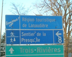A French-language road sign in Repentigny, Quebec. French was named the official language of the province under the Official Language Act