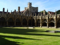 The cloister of Canterbury Cathedral with monastic buildings beyond