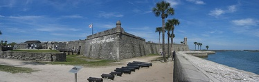 The Castillo de San Marcos. Originally white with red corners, its design reflects the colors and shapes of the Cross of Burgundy and the subsequent Flag of Florida.
