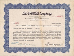 Certificate of Purchase Class A Stock for 20 Shares of The Coca-Cola Company, issued 20. February 1929