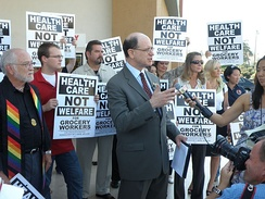 Congressman Brad Sherman joins with members of United Food and Commercial Workers (UFCW) at a local supermarket in Sherman Oaks