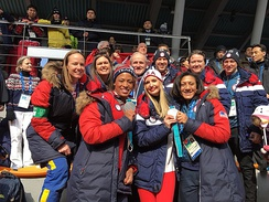 Risch with Ivanka Trump, Lauren Gibbs and Shauna Rohbock at the 2018 Winter Olympics in Pyeongchang, South Korea