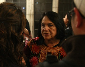 Dolores Huerta in 2009. Huerta has received numerous awards for her community service and advocacy for workers', and women's rights. She was the first Latina inducted into the National Women's Hall of Fame, in 1993.[56][57]