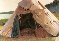 Details of Ojibwe Wigwam at Grand Portage by Eastman Johnson