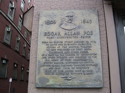 This plaque in Boston marks the approximate location[5] where Edgar Poe was born.