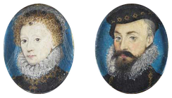 Pair of miniatures of Elizabeth and Leicester, c. 1575, by Nicholas Hilliard. Their friendship lasted for over thirty years, until his death.