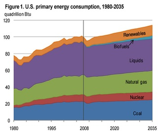 US energy consumption 1980–2008, with projections to 2035[99]