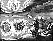One traditional depiction of the cherubim and chariot vision, based on the description by Ezekiel