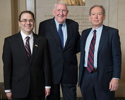 Former Bank Presidents (left to right) Narayana Kocherlakota (2009–2015), E. Gerald Corrigan (1980–1984), and Gary H. Stern (1985–2009)