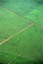 Geoglyphs on deforested land in the Amazon rainforest