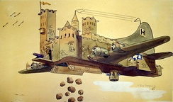 The B-17's capacity to repel enemy attacks and still inflict heavy damage upon German military capability and production centers is rendered in this caricature.