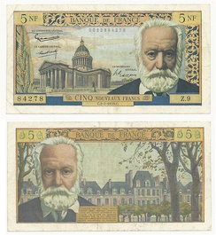 The banknote of 5 New Francs 1959 of the French national bank Banque de France honouring Victor Hugo, with a view of his burial place the Panthéon in Paris, and the Place des Vosges in Paris where he used to live.