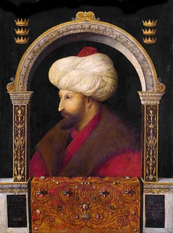 Portrait of Sultan Mehmed II by Gentile Bellini (c. 1480, but largely repainted later), who visited Istanbul and painted many Turkish scenes