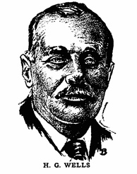 H. G. Wells as depicted in Gernsback's Science Wonder Stories in 1929