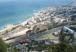 A Cable Car descending from Mount Carmel to Bat Galim