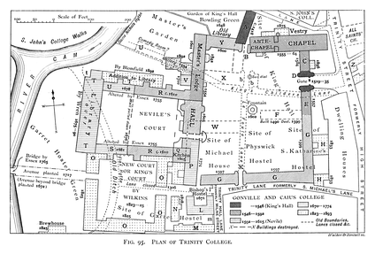 A historical plan of the development of Trinity College by 1897.