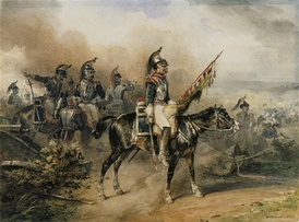 French cuirassiers (troopers of the 3rd regiment) during a charge. General of Division Marquis de Grouchy led his heavy cavalry brilliantly at Vauchamps, breaking and routing a number of enemy infantry squares.