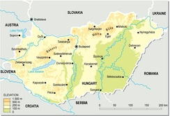 Topographic map of Hungary