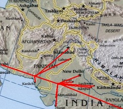 Projected Iran-Pakistan-India gas pipeline.