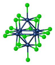 "Structure of W6Cl18 (""tungsten trichloride"")."