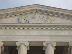 The Memorial's pediment features an Adolph Alexander Weinman sculpture of the Committee of Five