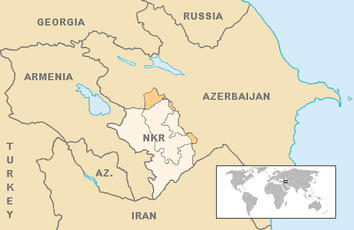 The final borders of the conflict after the 1994 ceasefire was signed. Armenian forces of Nagorno-Karabakh currently control almost 9% of Azerbaijan's territory outside the former Nagorno-Karabakh Autonomous Oblast,[52][53] while Azerbaijani forces control Shahumian and the eastern parts of Martakert and Martuni.