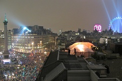 Thousands of people gather in central London for New Year celebrations, including fireworks at the London Eye at midnight