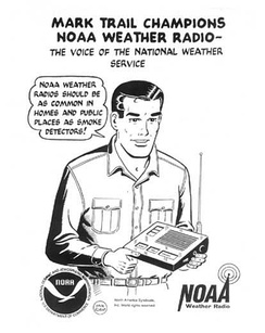 Public service announcement featuring comic strip character Mark Trail promoting NOAA Weather Radio