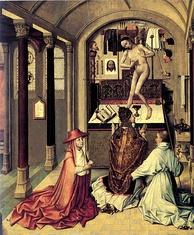 The Mass of St Gregory, by Robert Campin, 15th century