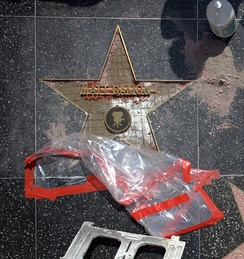Actor Matt Damon's star under construction, showing the brass star-shaped rim, exposed wire grid foundation, brass letters attached to two horizontal brackets, and the Motion Picture emblem, prior to pouring of pink terrazzo