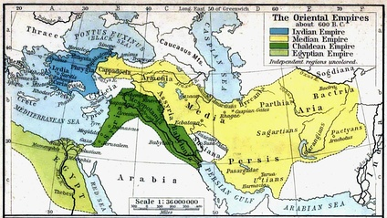 The region of Parthia within the empire of Medes, c. 600 BC; from a historical atlas illustrated by William Robert Shepherd