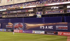 "Metrodome's ""baggie"" in right field."