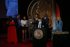 Mike Schur accepts the Peabody for Parks and Recreation. He is joined on stage by Retta, Jim O'Heir, Aubrey Plaza, Aziz Ansari, Adam Scott, Nick Offerman and Amy Poehler at the 71st Annual Peabody Awards.