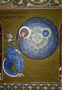 Бог создаёт солнце, луну и звезды— мозаика верхнего ряда южной стены