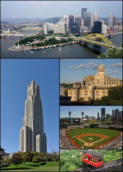 Clockwise from top: Pittsburgh skyline; Carnegie Mellon University; PNC Park; Duquesne Incline; Cathedral of Learning at the University of Pittsburgh