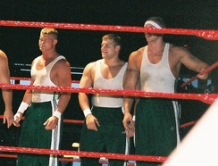 Nicky (Dolph Ziggler) (left) with Mikey and Kenny as part of the Spirit Squad in 2006