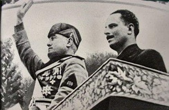 Italy's Duce Benito Mussolini (left) with Oswald Mosley (right) during Mosley's visit to Italy in 1936.