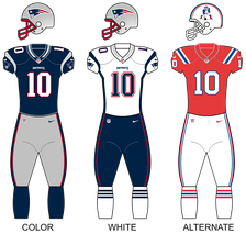 Uniforms worn by the Patriots from 2000 to 2019, including a red throwback version released in 2012