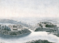 Fort Daer of the HBC and across the Pembina River on the right old Fort Pembina built by the NWC (painted by Peter Rindisbacher in 1822 )