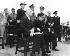 Roosevelt and Winston Churchill aboard HMS Prince of Wales for 1941 Atlantic Charter meeting