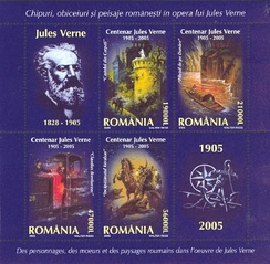 Jules Verne novels: The Carpathian Castle, The Danube Pilot, Claudius Bombarnac, and Kéraban the Inflexible, on a miniature sheet of Romanian postage stamps (2005)
