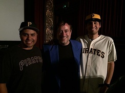 Richard Rossi (center) at screening of his Clemente film at Vogue Theater in San Francisco. Pictured with him are two fans of the film from Nicaragua whose families were saved by Clemente's relief efforts.