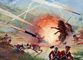 A painting showing the Mysorean army fighting the British forces with Mysorean rockets.[437]